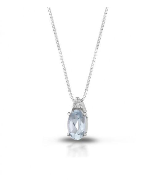 Collana donna Tramontano gioielli, oro bianco, acquamarina e diamanti
