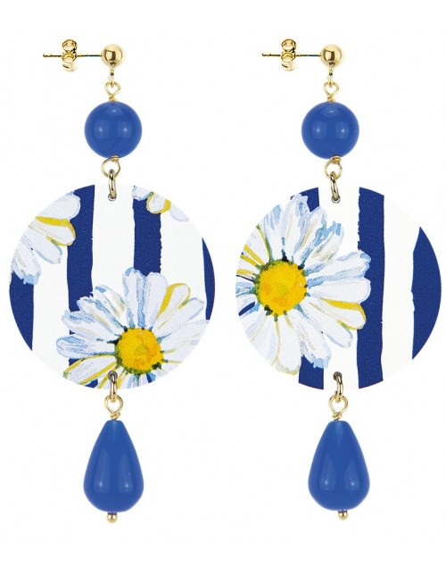 Orecchini argento Lebole The Circle Flower Blu