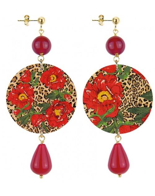 Orecchini argento Lebole The Circle Flower Rosso Pietra Rossa