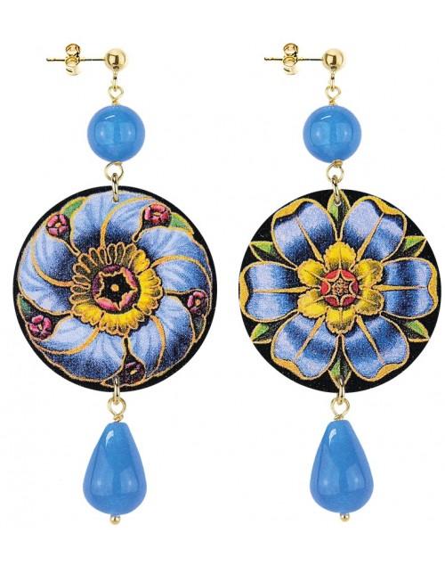 Orecchini argento Lebole The Circle Flower Fiore Pietra Azzurro