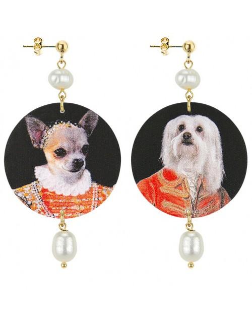 Orecchini argento Lebole The Circle Animalier Maltese e Chihuahua Perla
