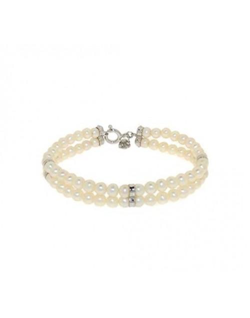 Bracciale donna argento rodiato oro bianco e doppio filo di perle acqua dolce - Everyday gioielli - Fatto in Italia