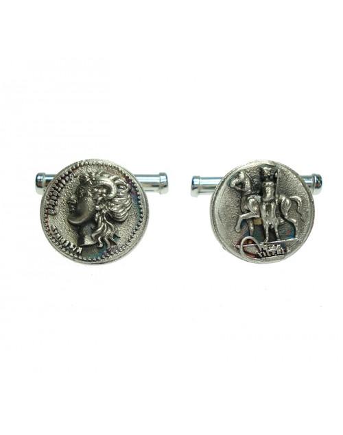 Coppia Gemelli Made in Nuceria - Moneta Didramma in argento - Gioiello Artigianale - Marte