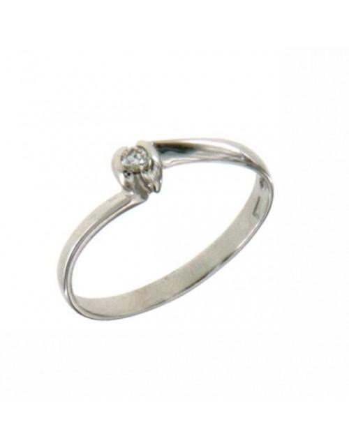 Anello donna oro bianco Solitario con diamante ct. 0,03 misura 14 - Cicalese Gioielli Valenza Made in Italy