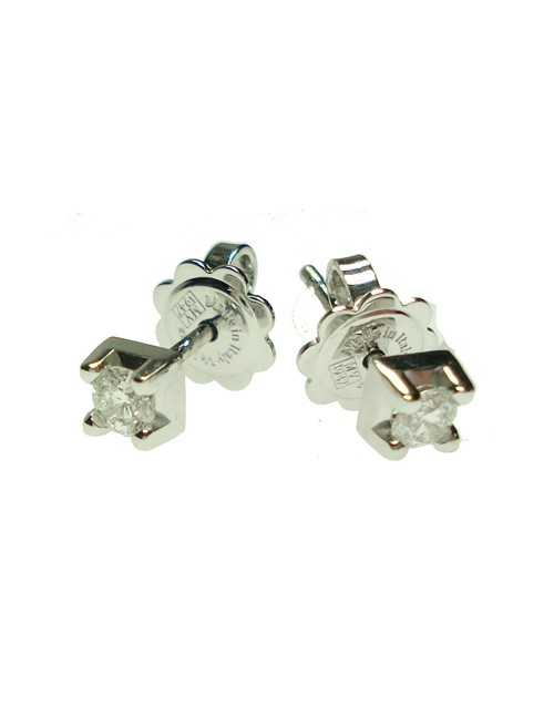 Orecchini punto luce oro bianco e diamanti tot. ct. 0,06 - Cicalese Gioielli Valenza Made in Italy