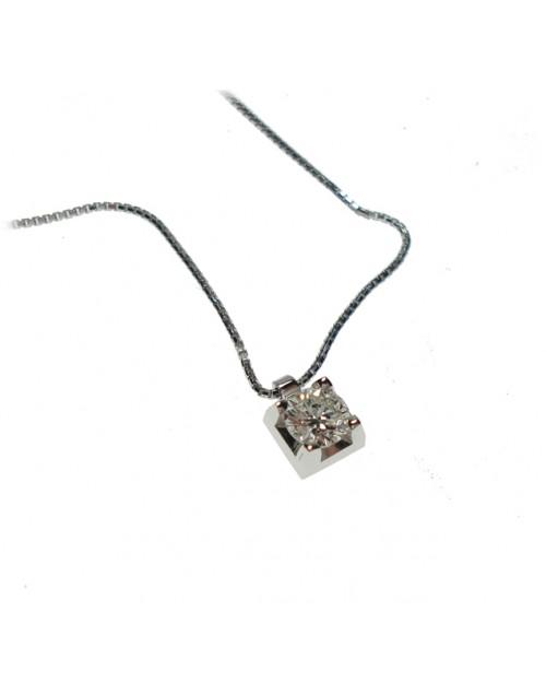 Collana donna oro bianco punto luce  con diamante ct. 0,40 - Cicalese Gioielli Valenza Made in Italy