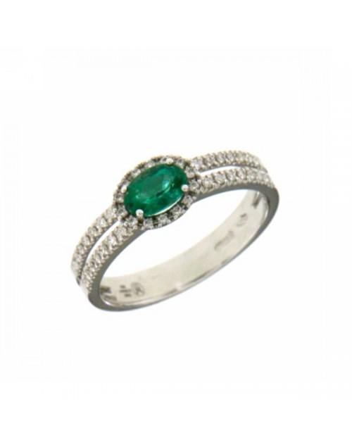 Anello donna oro bianco con Smeraldo e Diamanti Misura 14 - Cicalese Gioielli Valenza Made in Italy