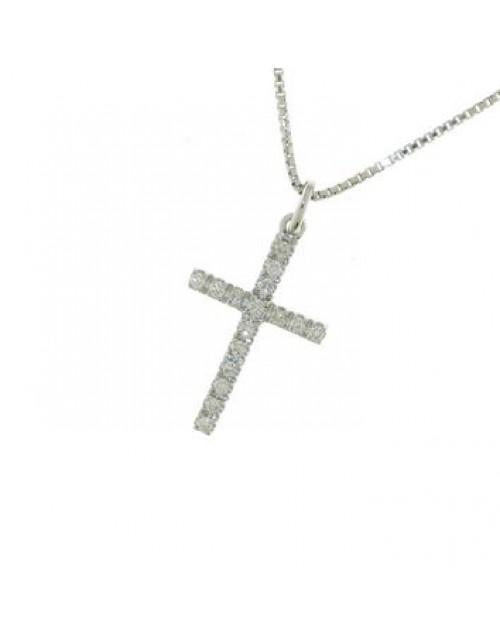 Collana donna oro bianco Croce con diamanti tot. ct. 0,05 - Cicalese Gioielli Valenza Made in Italy