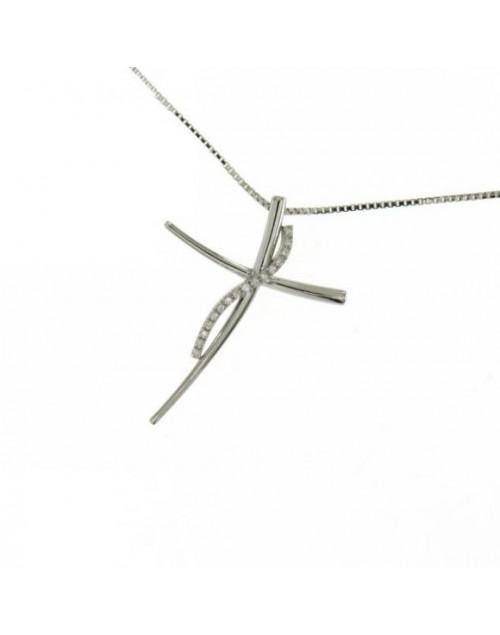 Collana donna oro bianco Croce con diamanti tot. ct. 0,04 - Cicalese Gioielli Valenza Made in Italy