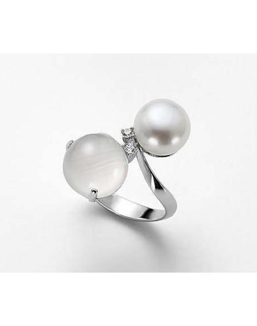 Anello donna argento con perla e cristallo di Rocca misura 15 - Nihama