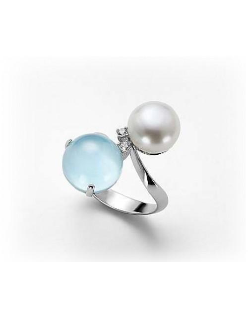 Anello donna argento con perla e cristallo di Rocca azzurro misura 15 - Nihama