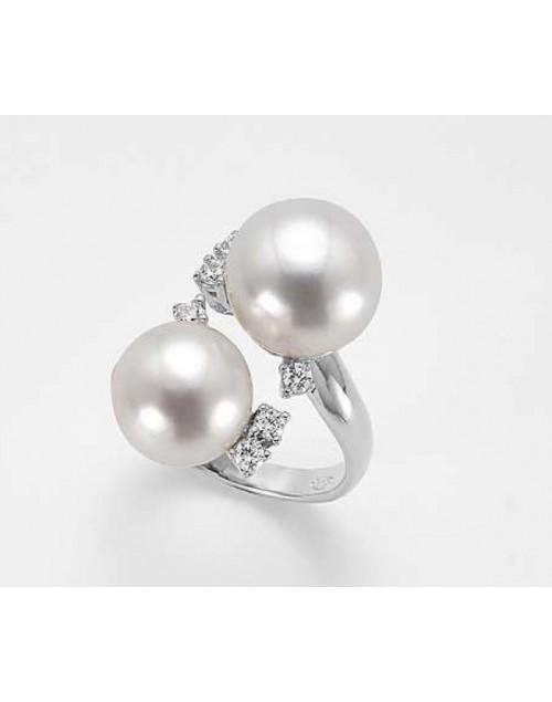 Anello donna argento con perle contrariè e cristalli misura 16 - Nihama