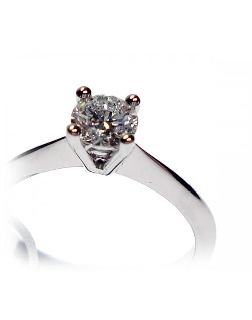 Anello donna oro bianco Solitario con diamanti ct. 0,51 G VS Misura 15 - Cicalese Gioielli Valenza Made in Italy