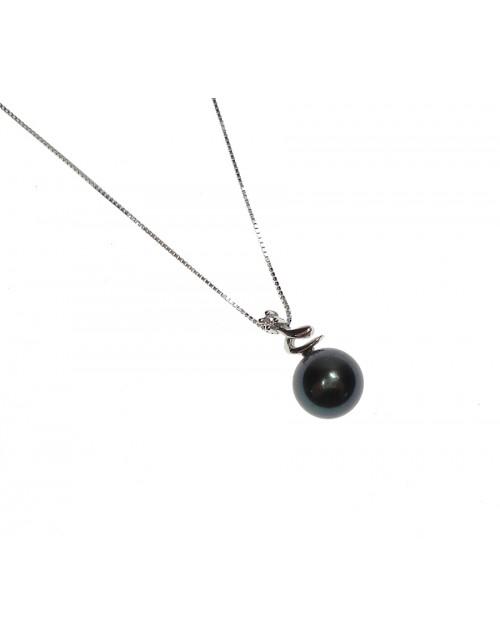 Collana Pendente Perla Nera 7,5/8 oro bianco con diamanti tot. ct. 0,01 - Nihama