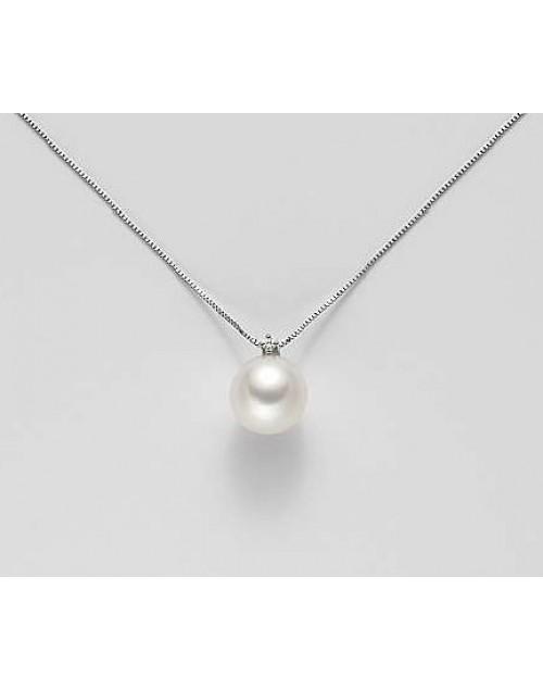Collana Pendente Perla 9,5/10 oro bianco con diamanti - Nihama
