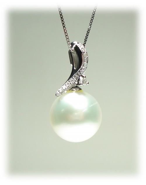 Collana Pendente Perla Mari del Sud Nihama 13/14 oro bianco con diamanti