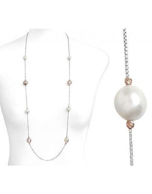 Collana donnna Laccio Argento e Perle Multicolor 12/14 cm. 100 - Nihama