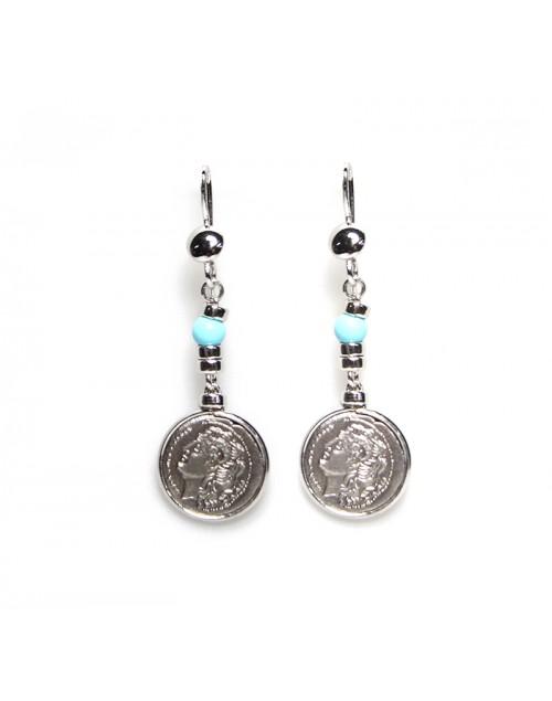 Orecchini Made in Nuceria - Moneta Didramma in argento e p. turchese - Pezzo Unico - Gioiello Artigianale - Poseidone