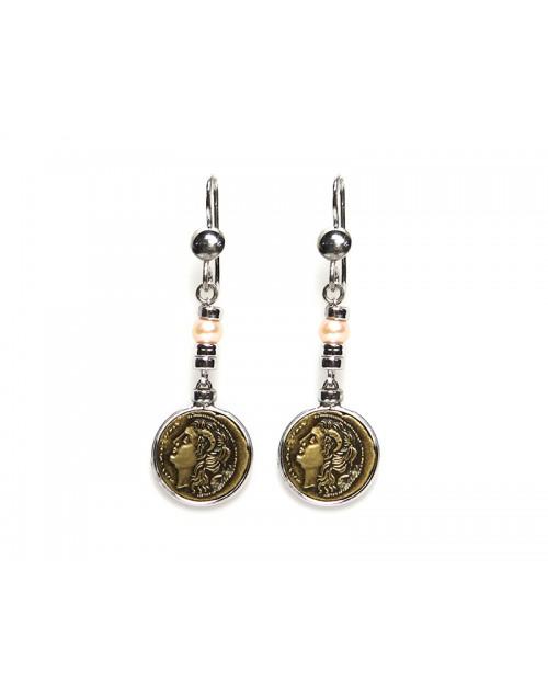 Orecchini Made in Nuceria - Moneta Didramma in Bronzo e Perle - Pezzo Unico - Gioiello Artigianale - Poseidone