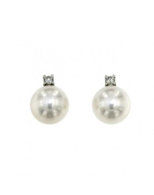 Orecchini donna oro bianco Bibigì Perle 7,5 con diamanti Pret-a-porter