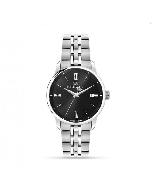 Orologio uomo solo tempo Philip Watch Anniversary quarzo Swiss Made black