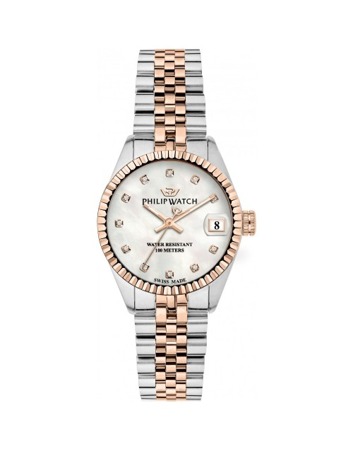 Orologio donna Solo tempo Philip Watch Caribe Quarzo Swiss Made Madreperla con Diamanti Rose Gold