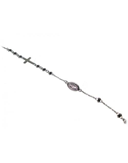 Bracciale uomo argento rodiato rosario - Zancan uomo