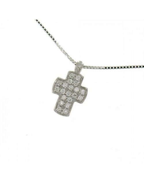 Collana donna oro bianco Croce con diamanti tot. ct. 0,18 - Cicalese Gioielli Valenza Made in Italy