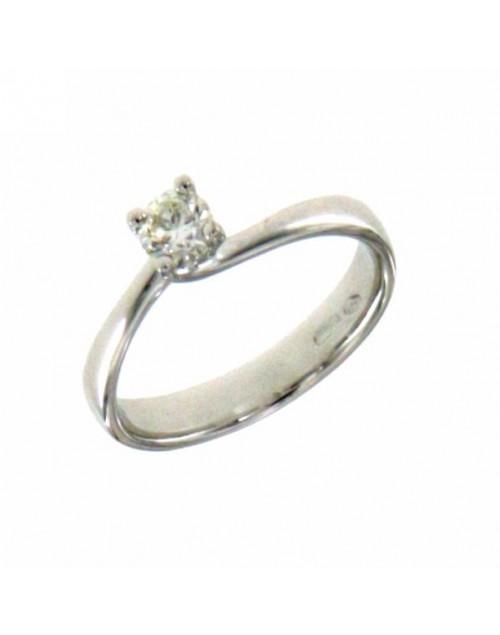 Anello donna oro bianco Solitario con diamante ct. 0,30 H VS misura 14 - Cicalese Gioielli Valenza Made in Italy