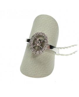 Anello donna oro bianco Solitario con diamanti ct. 0,18 Misura 16 - Cicalese 1898 gioielleria Made in Italy - OUTLET € 499,00
