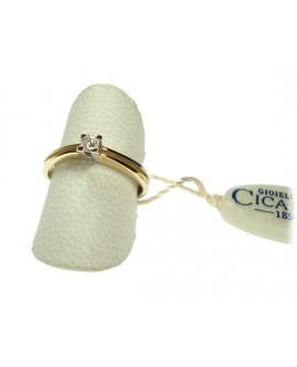 Anello donna oro giallo e bianco Solitario con diamante ct. 0,10 Misura 17 - Cicalese 1898 gioielleria Made in Italy - OUTLET € 399,00