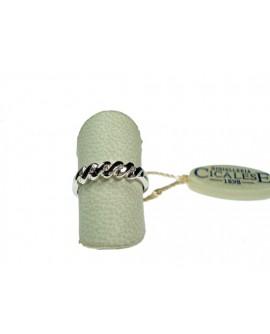 Anello donna oro bianco Veretta con diamanti ct. 0,08 Misura 14 - Cicalese 1898 gioielleria Made in Italy - OUTLET € 259,00