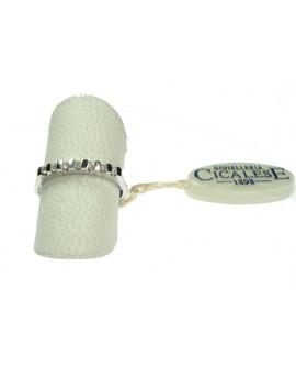 Anello donna oro bianco Veretta con diamanti ct. 0,10 Misura 13 - Cicalese 1898 gioielleria Made in Italy - OUTLET € 349,00