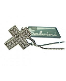 Collana donna Salvini Croce textures oro bianco con diamanti 2° misura - SALDI