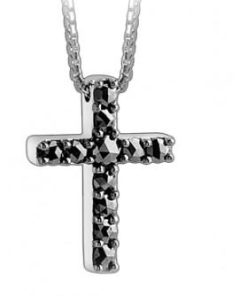 Gentleman collierino croce oro bianco e diamanti black - Salvini - SALDI