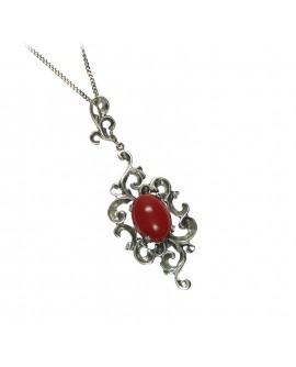 Collana donna Argento 925 Labriò gioielli con pietre naturali corallo rosso