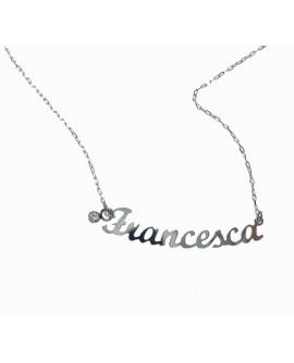 """Collana donna con nome oro bianco """"Francesca"""" con charms - Facco gioielli"""