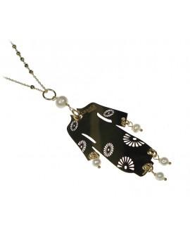 Collana donna Lebole grande in argento galvanizzato oro traforato e perle Kimono - Lebole gioielli - SALDI