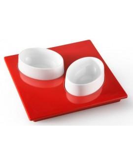 Set finger food vassoio con due ciotole green/white in melamina 100% Entity 19 - Mebel - OUTLET - SALDI