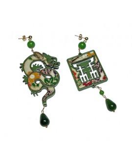 Orecchini donna Lebole piccolo verde in argento, lacca e seta di antichi Kimono Mito - Lebole gioielli - SALDI