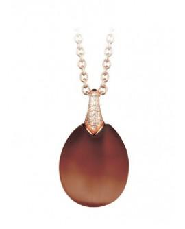 Collana donna argento rose gold e cristallo di Rocca Brown Olga - Tsars Collection - Realizzato da Tatiana Fabergè SA