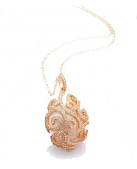 Collana donna argento rose gold con agata bianca e cristalli Alexandra - Tsars Collection - Realizzato dalla Tatiana Fabergè SA