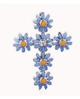 Croce oro bianco e smalto - Aprile - OUTLET € 189,00