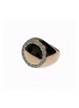 Anello Chevalier unisex argento rose gold con cristalli - Cicalesegioielli