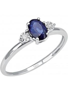 Anello donna Bliss oro bianco Stephanie con zaffiro blu e diamanti misura 13