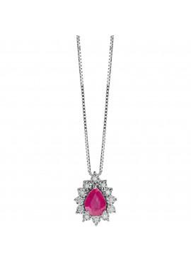 Collana donna Bliss oro bianco Lafayette con Rubino e Diamanti Goccia