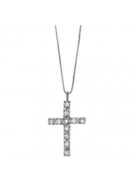 Collana donna Bliss oro bianco Le Croci con diamanti