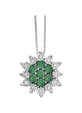 Collana donna Bliss Elisir oro bianco 18kt., Smeraldi e Diamantii