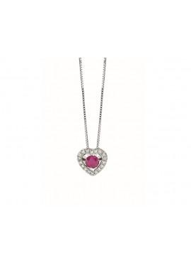 Collana donna Bliss Lumina Cuore oro bianco 18kt. con Rubino e Diamanti