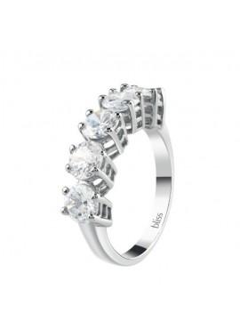 Anello argento Bliss Royale Veretta 5 pietre cubic zirconia